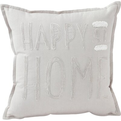 Happy at Home Throw Pillow Color: Cream