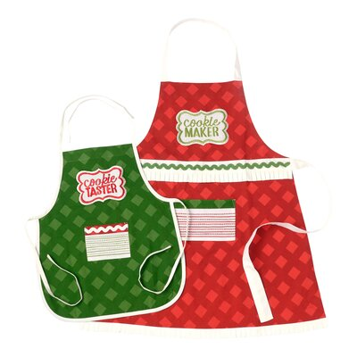 2 Piece Cotton Adult and Child Christmas Cookie Apron Set