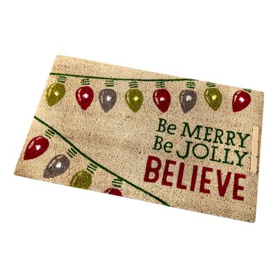 Light Up Be Merry Be Jolly Believe Doormat