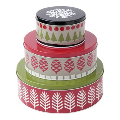3 Piece Holiday Round Nesting Storage Jar Set