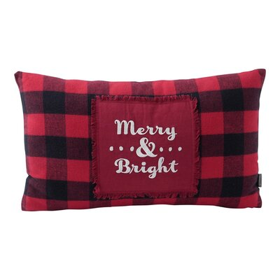 Merry and Bright Buffalo Plaid Cotton Throw Pillow