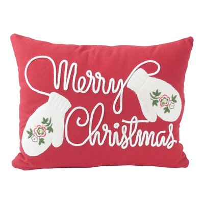 Merry Christmas with Applique Mittens Lumbar Pillow