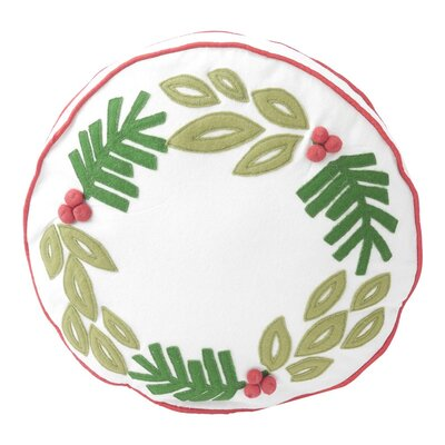 Wreath Applique Round Throw Pillow