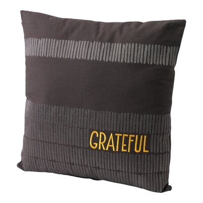 Embroidered Grateful Cotton Throw Pillow
