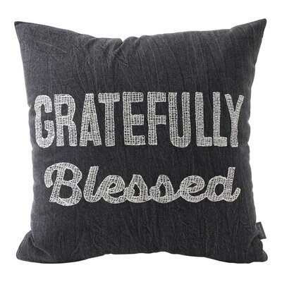 Gratefully Blessed Embroidered Cotton Throw Pillow