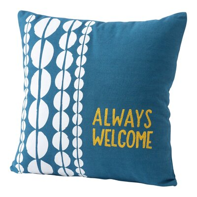 Always Welcome Embroidered Cotton Throw Pillow