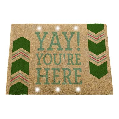 Clayville Yay! Youre Here Natural Coir Step Activated Lighted Doormat