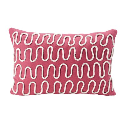 Haysville Pink Rope Decorative 100% Cotton Lumbar Pillow