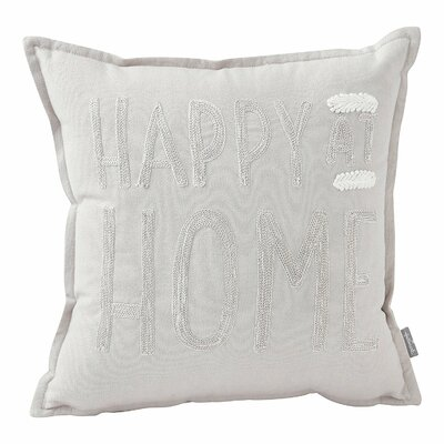 Alvord Happy at Home Throw Pillow Color: Cream