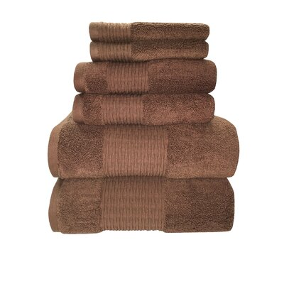 Luna 6 Piece Towel Set Color: Brownie