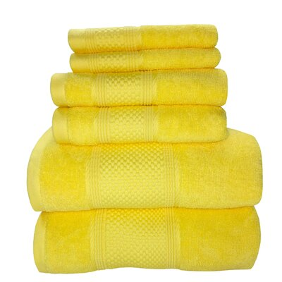 Horizon 6 Piece Towel Set Color: Lemon