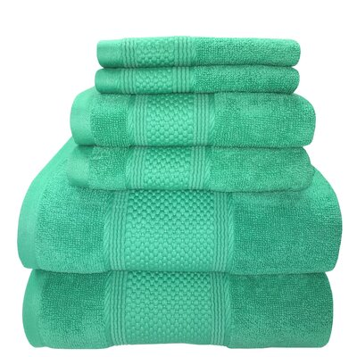 Horizon 6 Piece Towel Set Color: Teal
