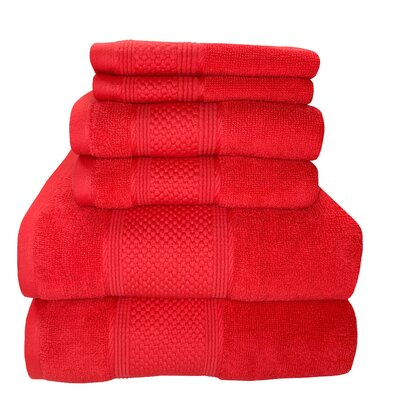 Horizon 6 Piece Towel Set Color: Sugar coral