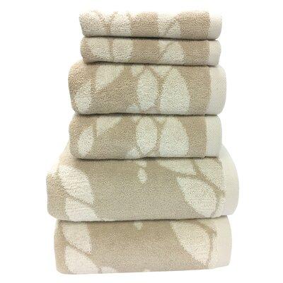 Ripple 6 Piece Towel Set Color: Almond