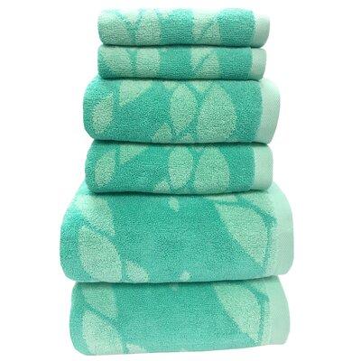 Ripple 6 Piece Towel Set Color: Aqua