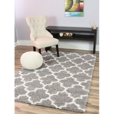 Sampson Gray/White Area Rug Rug Size: 710 x 910
