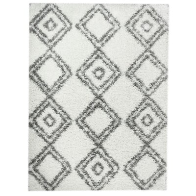 White/Gray Area Rug Rug Size: 2 x 3
