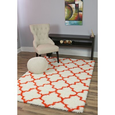 Little White/Orange Area Rug Rug Size: 8' x 10'