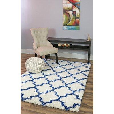 Burgess White/Blue Area Rug Rug Size: 8' x 10'