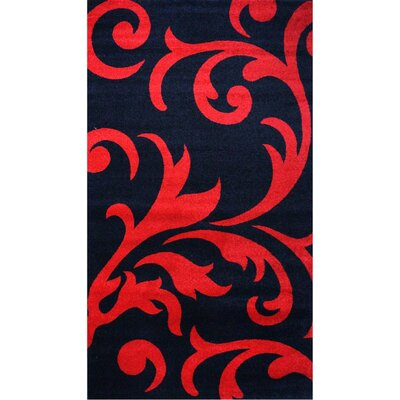 Melendez Black/Red Area Rug Rug Size: 5 x 8