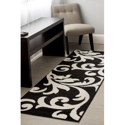 Melendez Black/White Area Rug Rug Size: Runner 2 x 8