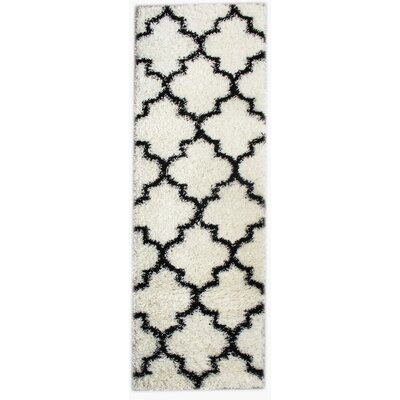 Wyatt White/Black Area Rug Rug Size: Runner 27 x 8