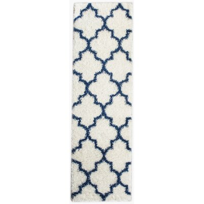Burgess White/Blue Area Rug Rug Size: Runner 2'7