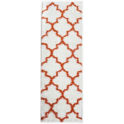 Little White/Orange Area Rug Rug Size: Runner 2'7