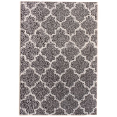 Sampson Gray/White Area Rug Rug Size: 3'2