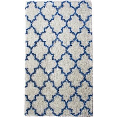 Burgess White/Blue Area Rug Rug Size: 32 x 5