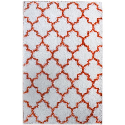 Little White/Orange Area Rug Rug Size: 32 x 5