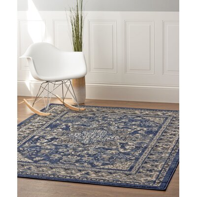 Rosie Blue/Gray Area Rug Rug Size: 33 x 47