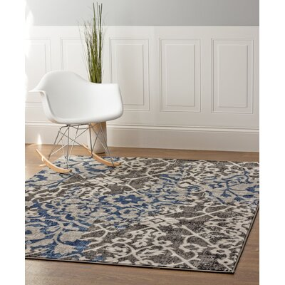 Rosie Gray/Blue Area Rug Rug Size: 53 x 73