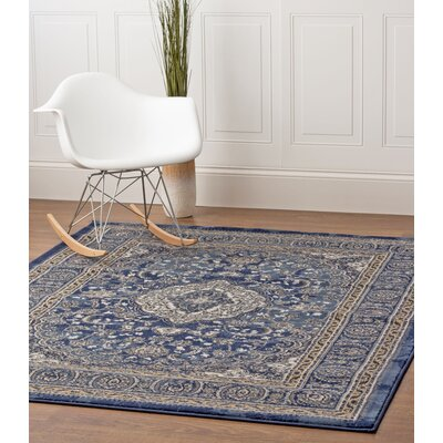 Artifact Blue/Beige Area Rug Rug Size: 53 x 73