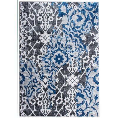 Rosie Gray/Blue Area Rug Rug Size: 33 x 47