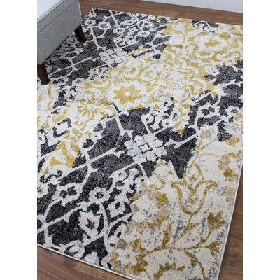 Artifact Tribal Ikat Yellow/Gray Area Rug Rug Size: 53 x 73
