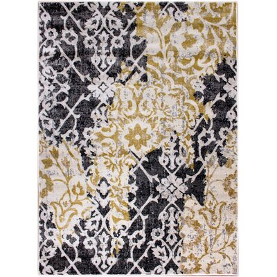 Rosie Ikat Yellow/Gray Area Rug Rug Size: Runner 27 x 8