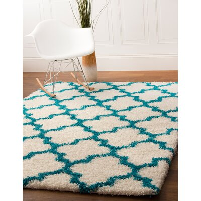 Keithsburg White/Turquoise Area Rug Rug Size: Runner 27 x 8