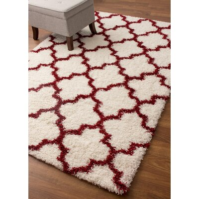 Haynes White/Red Area Rug Rug Size: Runner 27 x 8