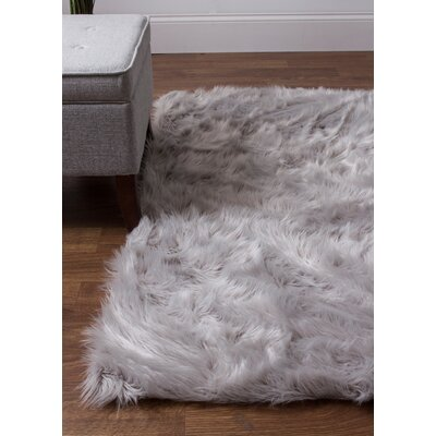 Charlotte Hand-Woven Faux Sheepskin Gray Area Rug Rug Size: 5 x 7
