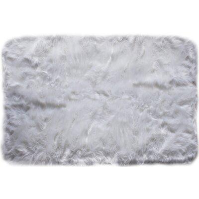 Serene Faux Sheepskin Soft Shag Hand-Woven Ivory Area Rug Rug Size: 5 x 7