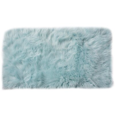 Charlotte Hand-Woven Faux Sheepskin Light Blue Area Rug Rug Size: 3 x 5