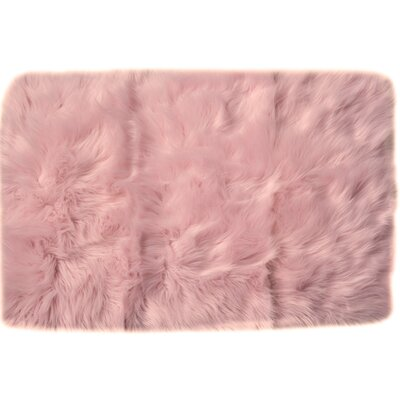 Serene Faux Sheepskin Soft Shag Hand-Woven Light Pink Area Rug Rug Size: 3 x 5