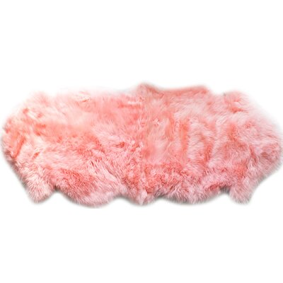 Sheepskin Fur Shag Candy Floss Pink Area Rug