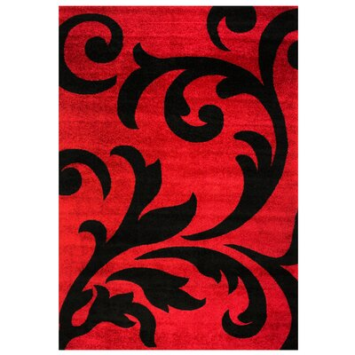 Melendez Black/Red Area Rug Rug Size: 3 3 x 5