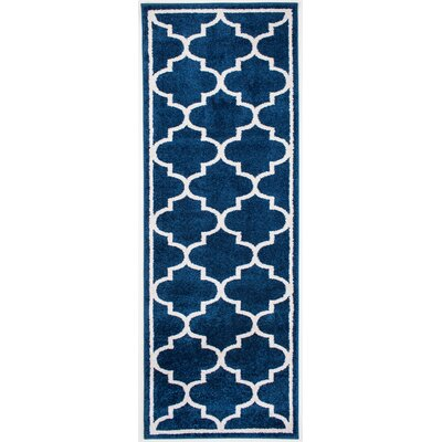 Madison Avenue Bordered Blue Area Rug Rug Size: Runner 27 x 710