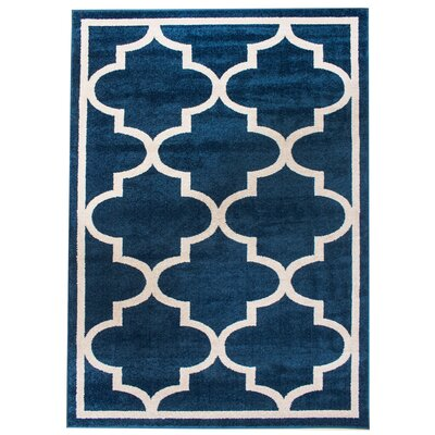Madison Avenue Bordered Blue Area Rug Rug Size: 5 x 8