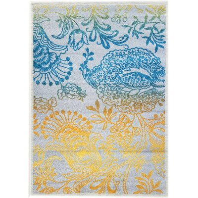 Merissa Transitional Peacock Gray/Yellow Area Rug Rug Size: 710 x 910