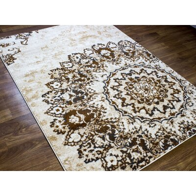 Nde Transitional Medallion Brown/Beige Area Rug Rug Size: 53 x 73