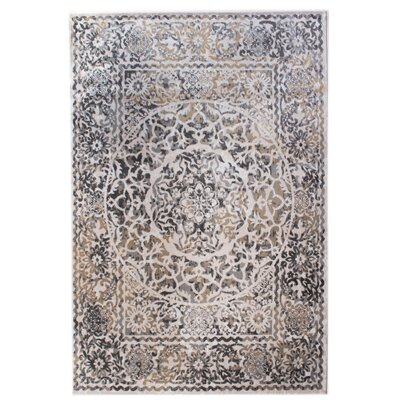 Rosie Transitional Medallion Distressed Ivory/Gray Area Rug